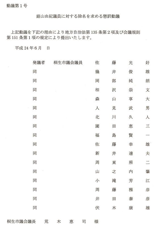 除名懲罰動議 その1: 由紀日記